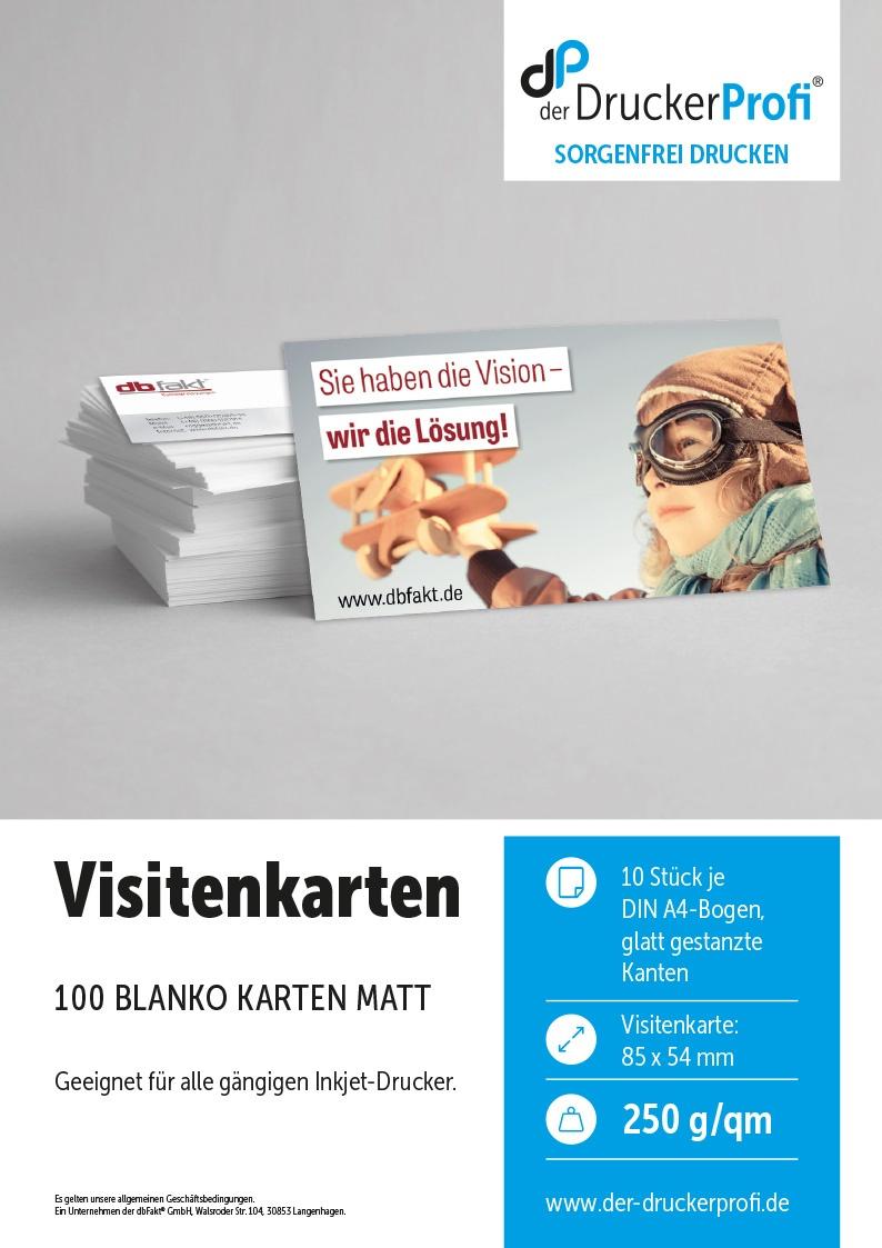 DDP Inkjet Visitenkarten matt, 250g/m², DIN A4, 100 Stück